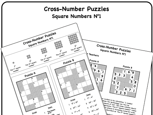 Cross Number Puzzles: Square Numbers No1