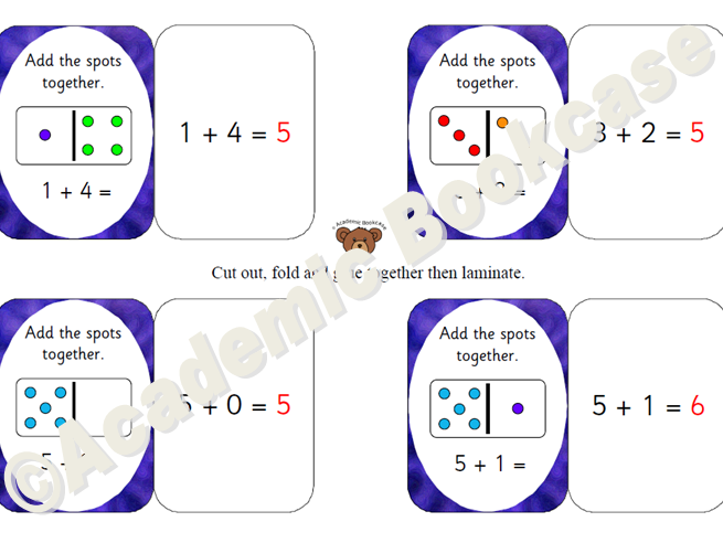 Self check maths flashcards - dominoes - addition to 20