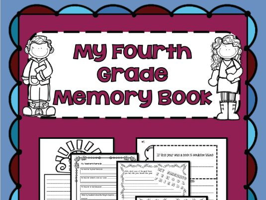 End of the Year Memory Book for Grade 4