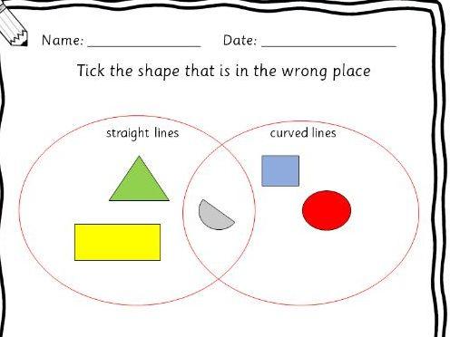 Reception/Year 1 - 2D shapes, patterns, venn diagrams, symetry worksheets