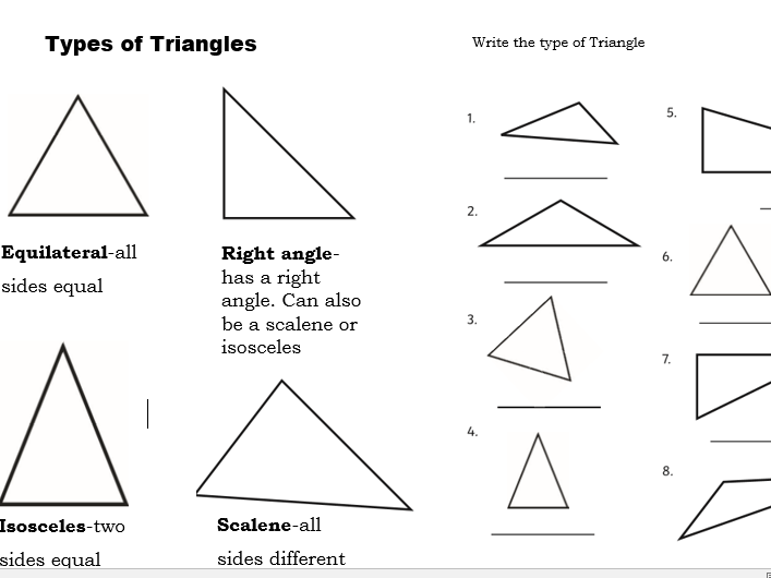Primary Maths Different Types Of Triangles Worksheet By