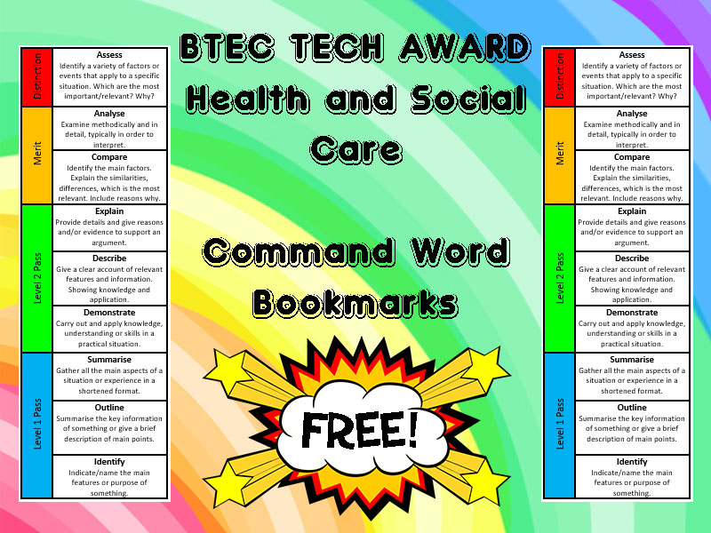 COMMAND WORD BOOKMARKS (BTEC Tech Award in Health and Social Care)