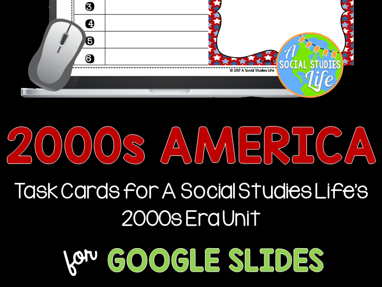 2000s America Task Cards GOOGLE DRIVE DISTANCE LEARNING