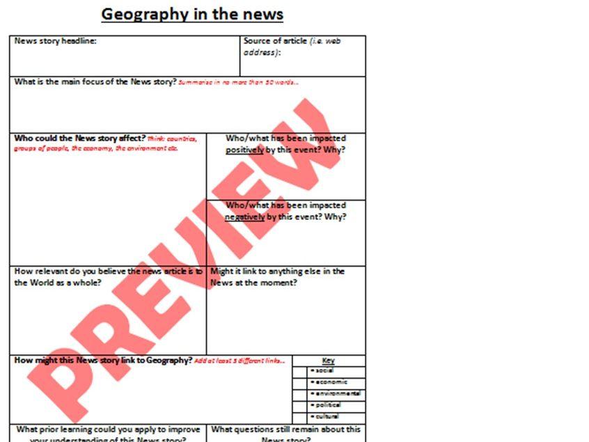 Geography in the News - KS3 / KS4 / KS5 worksheet