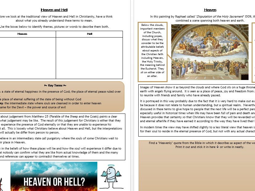 RE GCSE AQA Christianity Beliefs : Heaven and Hell