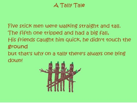 KS1: An Introduction to Tally Marks - A rhyme and resource to support the teaching of tally marks.