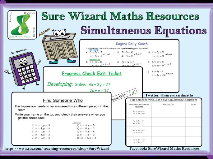 Solving Simultaneous Equations KS4 Lesson Resources