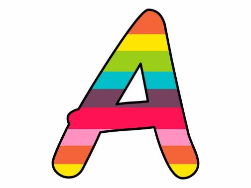 image relating to Printable Letters and Numbers identified as Printable demonstrate bulletin letters quantities and additional: Rainbow