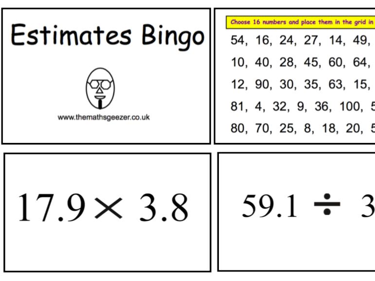 Estimates Bingo