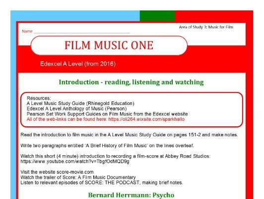 Edexcel Music A Level (from 2016) Film Music One