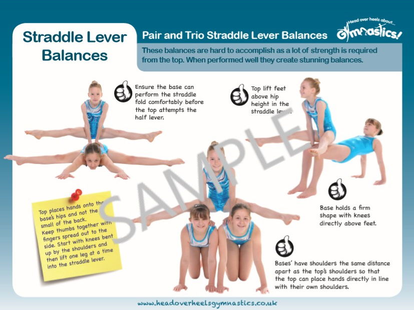 Gymnastics Pair and Trio Balances - Straddle Lever Balances
