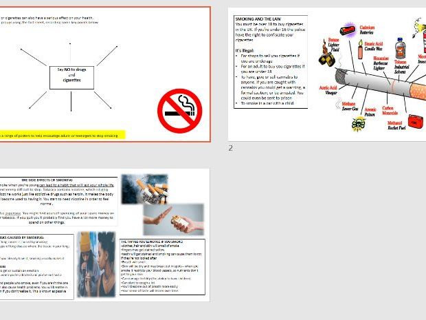 PSHCEE Smoking - Whole Lesson Activity - Analyse Facts, Discuss, Group work & Poster Task & Sheet