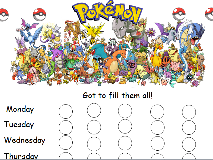Pokemon reward chart