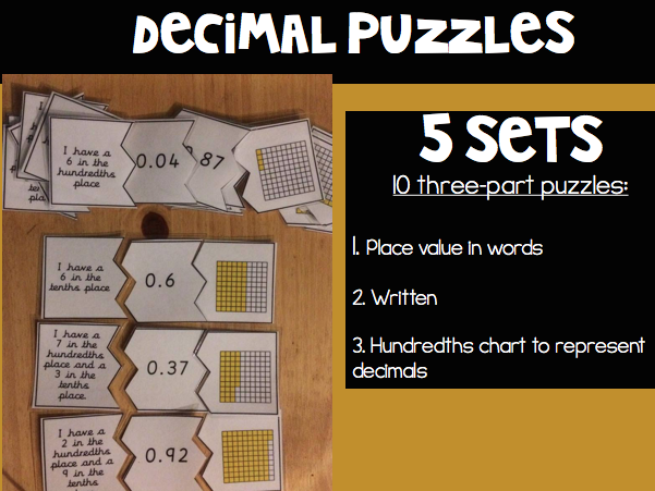 Decimal Matching Puzzles (5 sets of 10)
