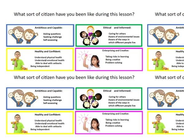 Four Purposes labels for display and pupil self assessment.