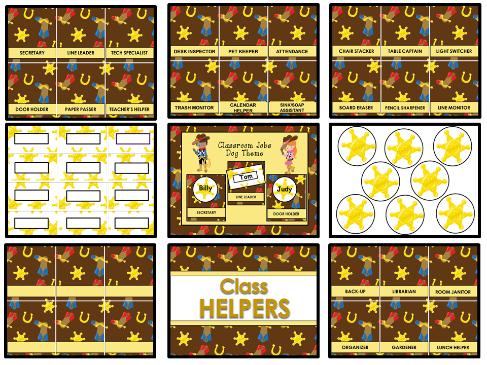 Classroom Helpers Editable - Wild West Theme