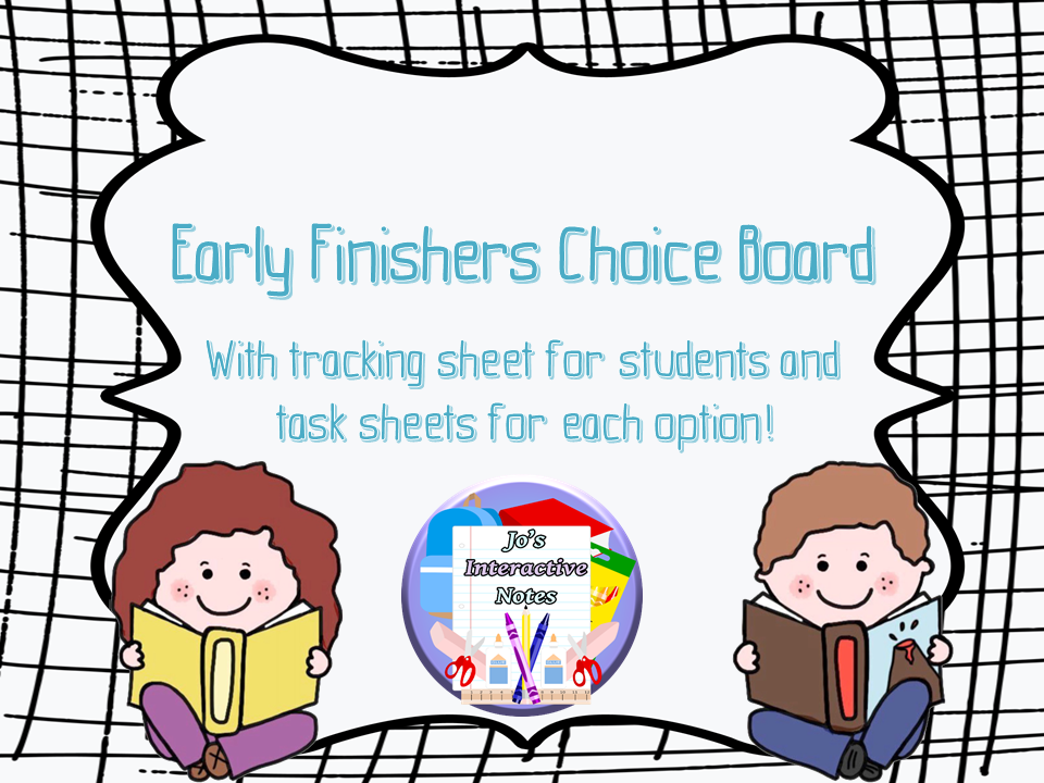 Early Finishers Choice Board Activity Pack