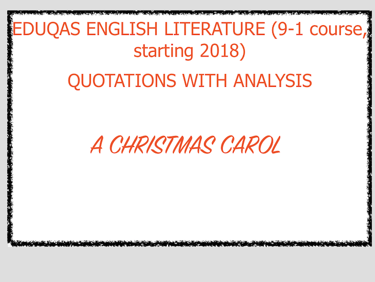 A Christmas Carol Character Quotations WITH ANALYSIS