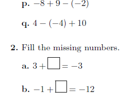 Adding and subtracting positive and negative numbers worksheets (with solutions)