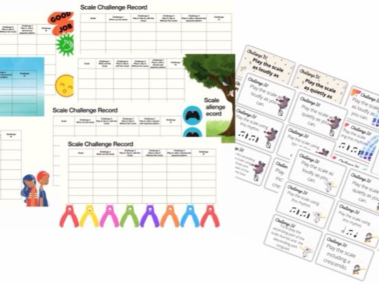 Scales Chaalenge Records and Challenge It! cards, music teaching, learn scales, suitable for l