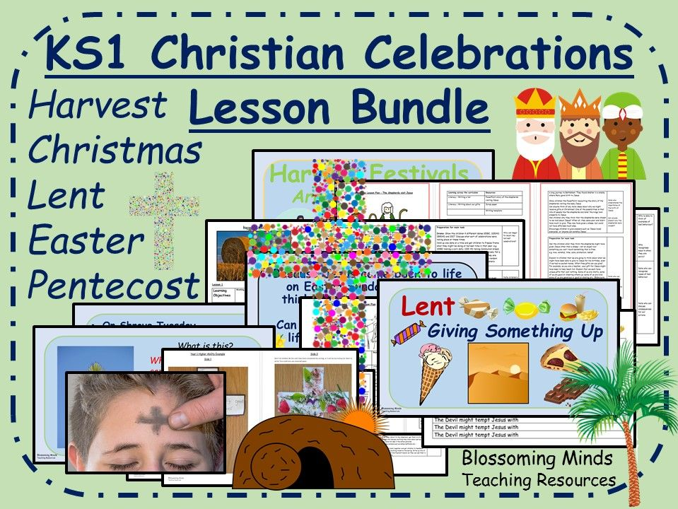 KS1 Bumper Christianity Lesson Pack - Harvest, Christmas, Lent, Easter and Pentecost