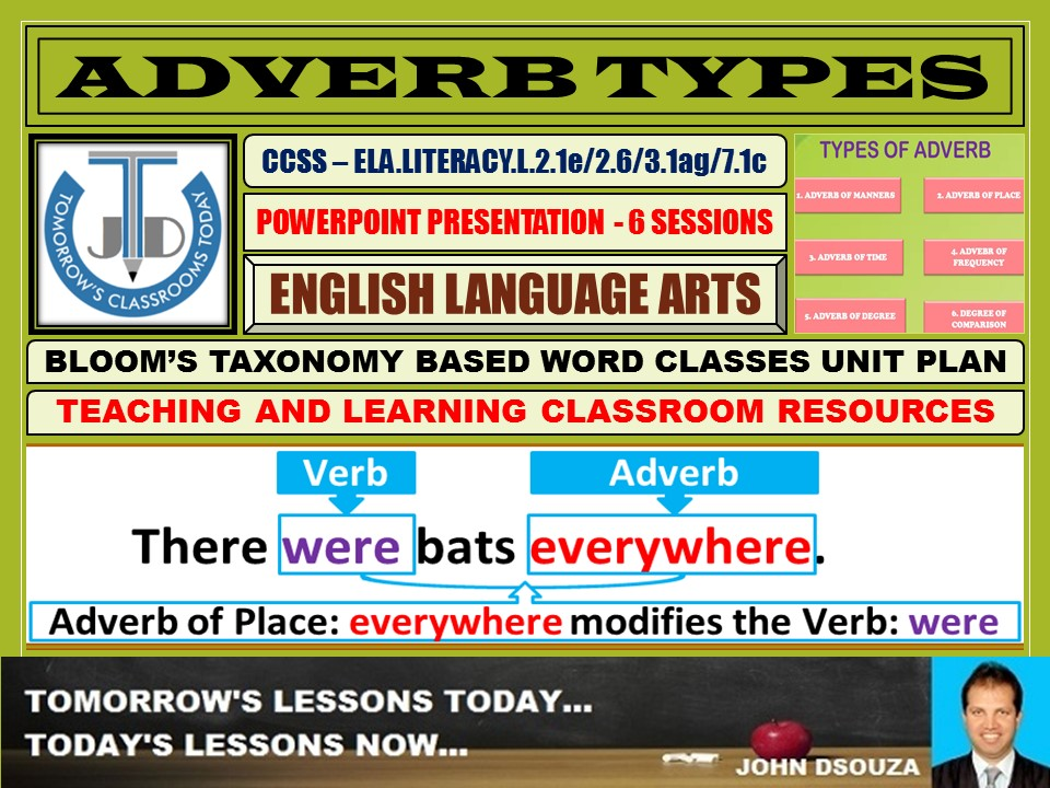 ADVERB TYPES: READY TO USE LESSON PRESENTATION - 6 SESSIONS