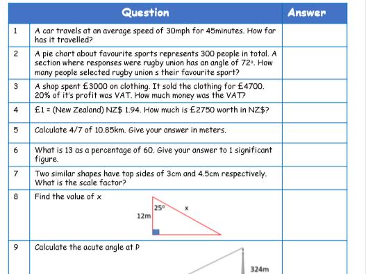 WJEC GCSE Mathematics Numeracy - Intermediate Tier - Key Skills booklet - Revision pack