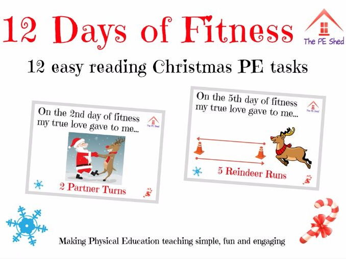 12 Days of Fitness - Christmas PE Task Card Activity