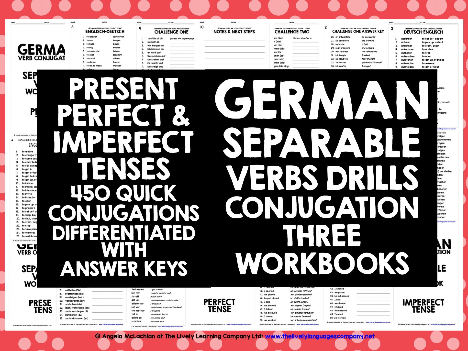 GERMAN SEPARABLE VERBS CONJUGATION PRESENT, PERFECT & IMPERFECT TENSES