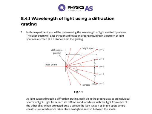 AS Physics 9702 - Practical - 08.4.1 Measuring the wavelength of light using a diffraction grating