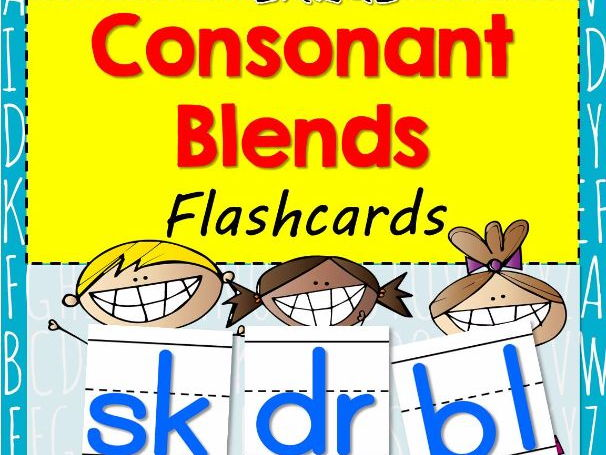 Large CONSONANT BLENDS Flash Cards with Handwriting Lines
