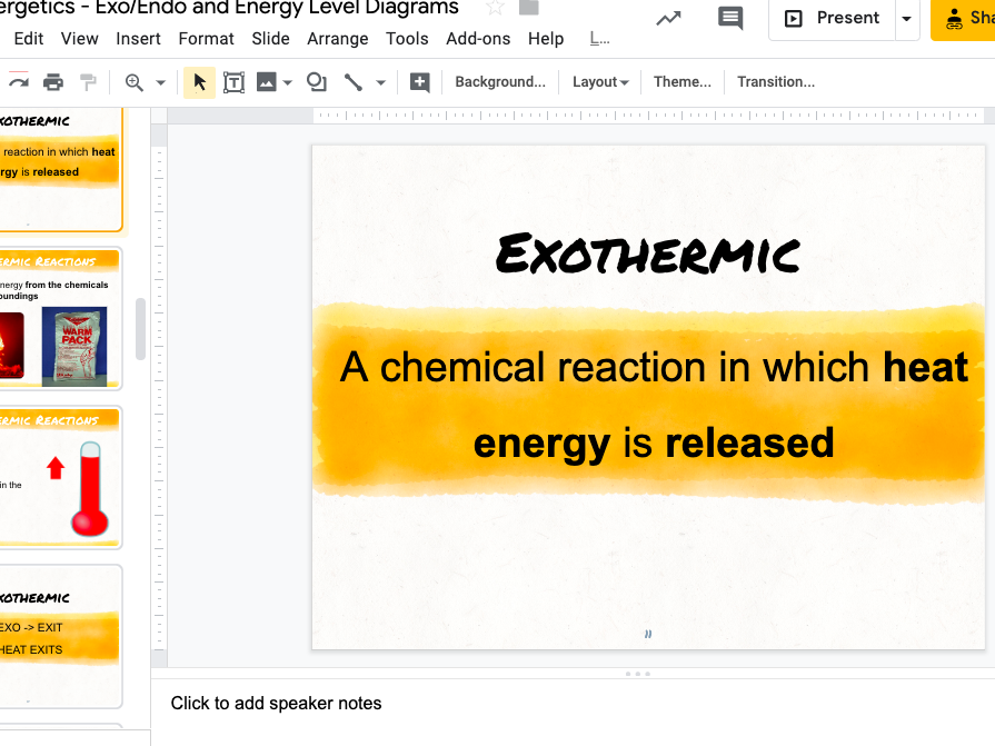 Exothermic and Endothermic Reactions and Energy Level Diagrams KS4 Edexcel IGCSE
