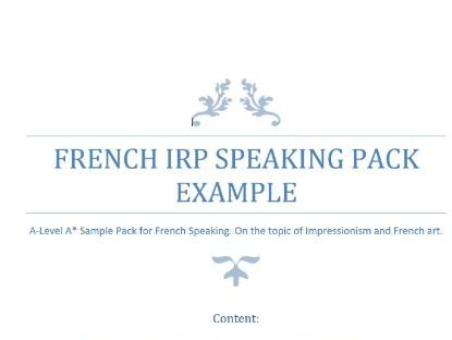 A-Level French Speaking Sample