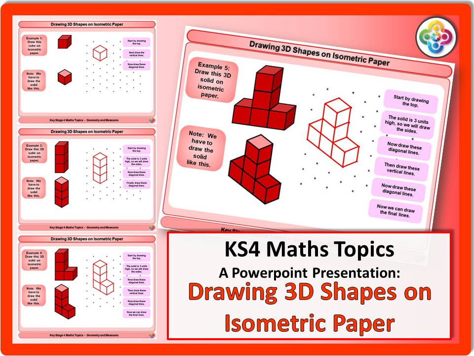 Drawing 3D Shapes in Isometric Paper KS4