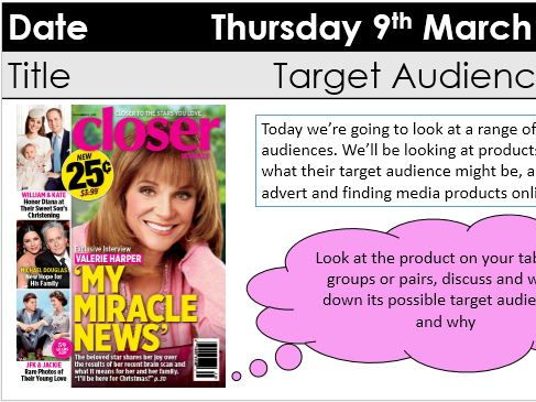 Target audience (KS5 media CTECH)