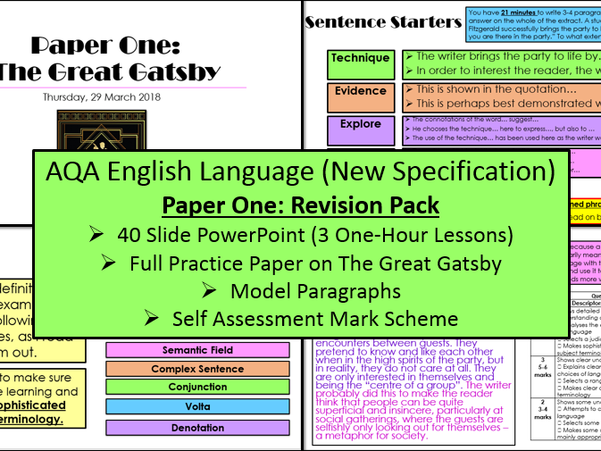English Language Paper One Revision Lessons and Exam Practice Questions - (AQA, 9-1 GCSE)