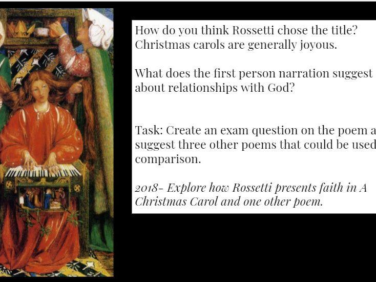 A Christmas Carol Christina Rossetti lesson