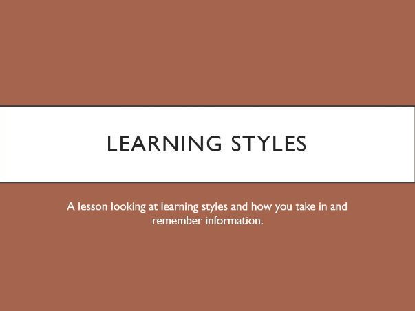 Learning Styles Tutor Time Lesson with worksheet