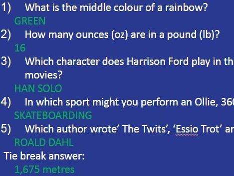 KS3/4 General knowledge Form Time Quiz - week 1