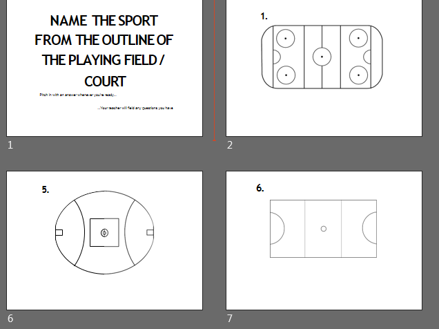 Quiz Round: Name the Sport from the Outline of the Playing Field/Court
