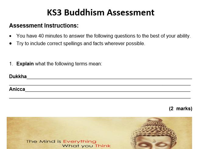KS3 Buddhism Asssessment