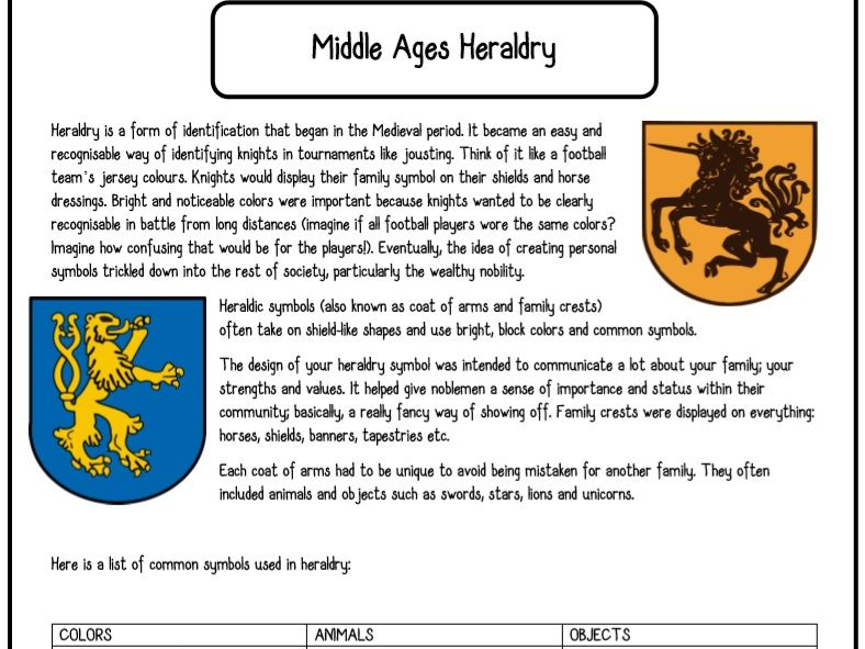 Middle Ages Medieval Coat of Arms Heraldry Worksheet