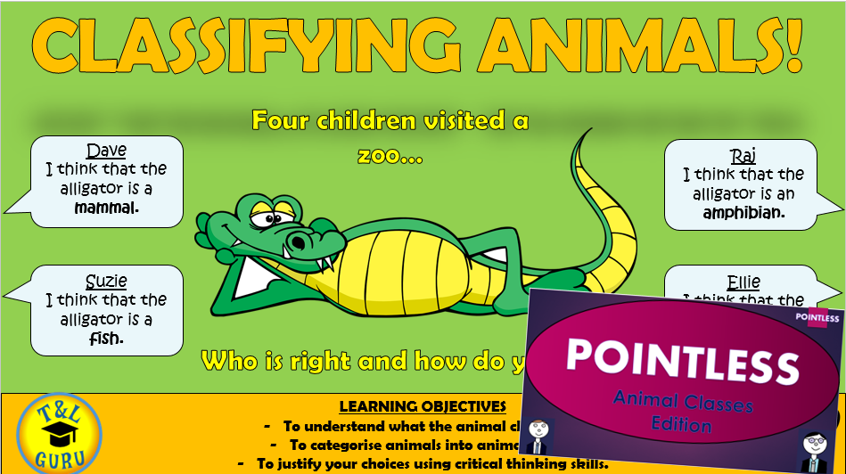 Classifying Animals Lesson, Resources, and Pointless Game!