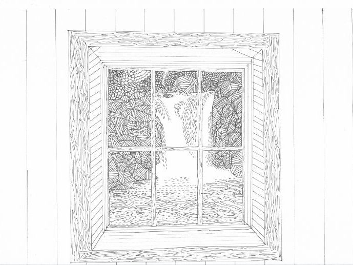 Waterfall View through Window Colouring Page (Lake District)