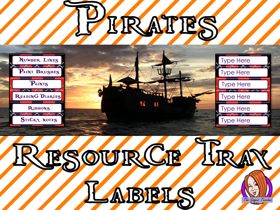 Pirate Themed Resource Tray Labels