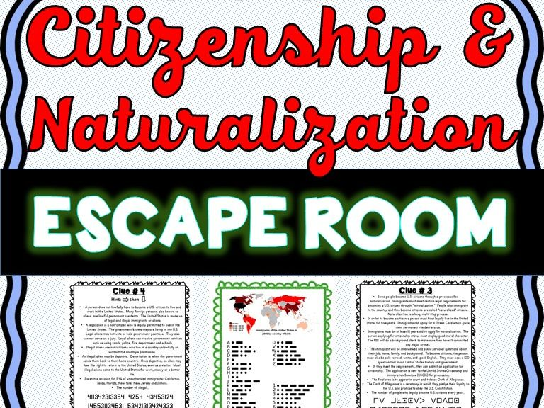 Citizenship and Naturalization ESCAPE ROOM: Becoming a U.S. citizen