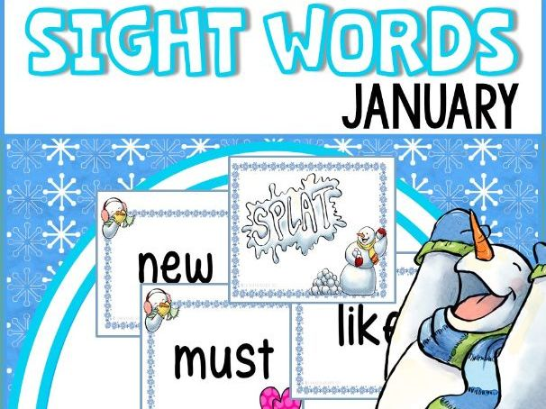 Winter Sight Words Flash Cards and Game