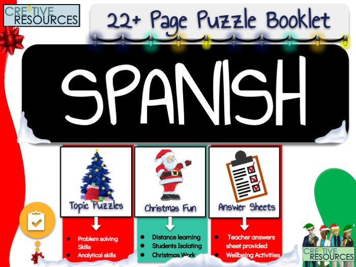 Christmas Spanish MFL Puzzle Work Book