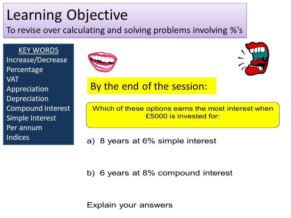 GCSE Foundation 1-9 Percentages & Interest Revision