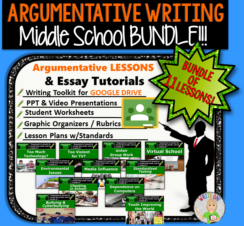 Argumentative Writing BUNDLE #2 - Digital Resource - 11 Lessons!!! - Middle School